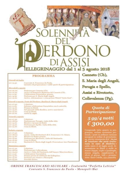 Pellegrinaggio Assisi Monopoli 2018